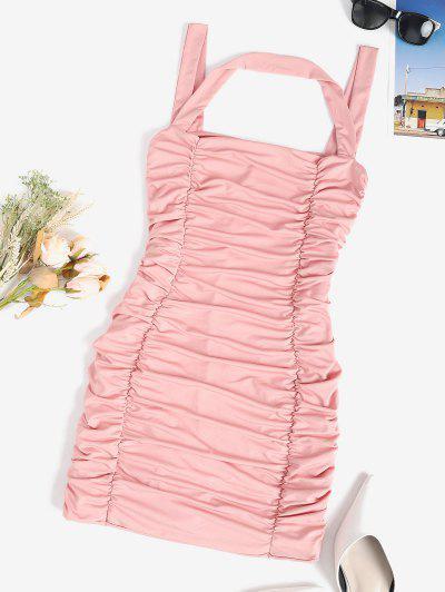 Ruched Slinky Sleeveless Bodycon Dress - Light Pink M