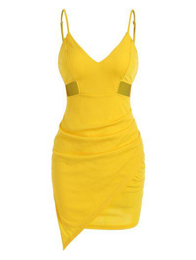 Cami Cut Out Side Draped Slinky Dress - Yellow L