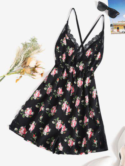 Floral Cross Back Lace Panel Cami PJ Romper - Black S