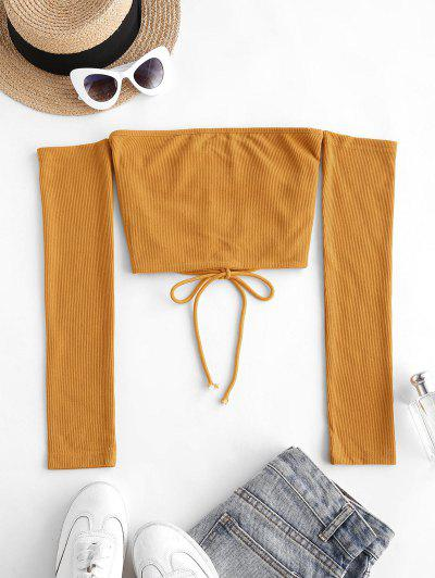 Off Shoulder Rib-knit Lace-up Open Back Crop Top - Yellow M