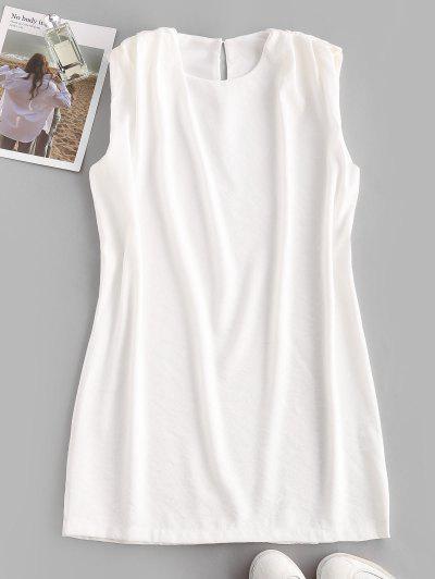 Sleeveless Padded Shoulder Straight Mini Dress - White L