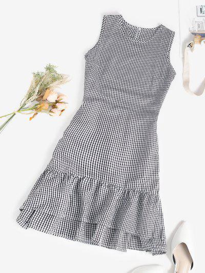 Gingham Seersucker Flounce A Line Dress - Black L