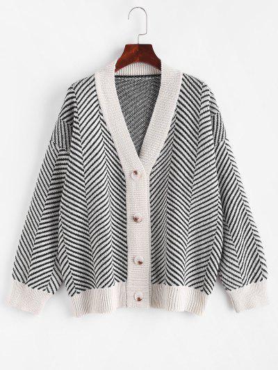 Button Up Stripes Oversized Cardigan - Warm White