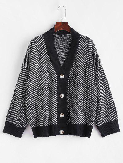 Button Up Stripes Oversized Cardigan - Graphite Black