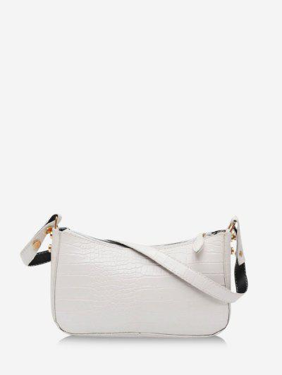 French Style Solid Shoulder Bag - Milk White