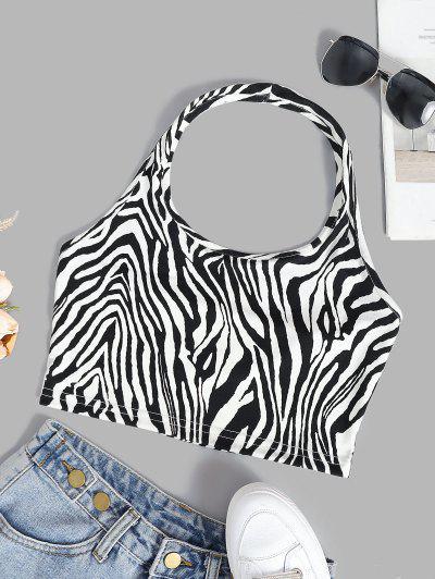Halter Zebra Pattern Jersey Crop Tank Top - Milk White S