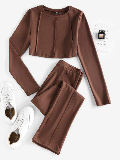 ZAFUL Exposed Seams Plain Straight Pants Set - Deep Coffee M