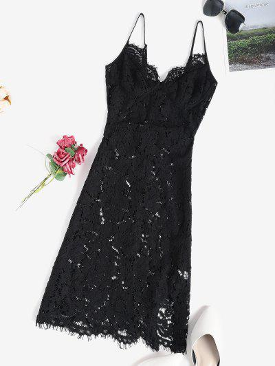 Lace Sheer Slit Sexy Cami Babydoll - Black S