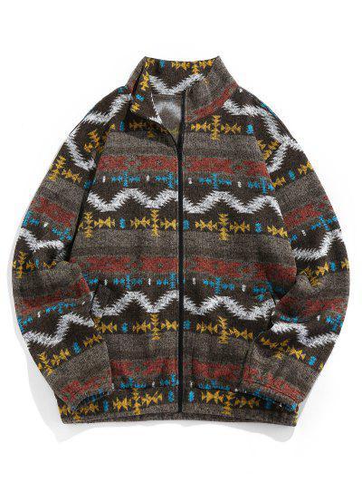 ZAFUL Tribal Jacquard Zip Up Fleece Jacket - Brown Bear Xl