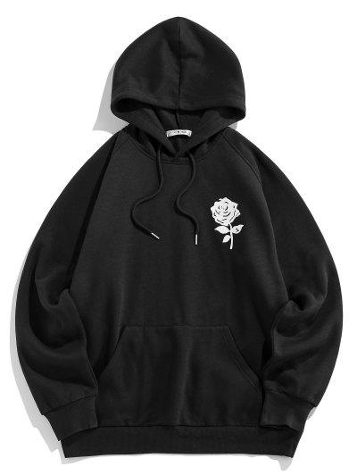 ZAFUL Rose Flower Print Fleece Hoodie - Black L
