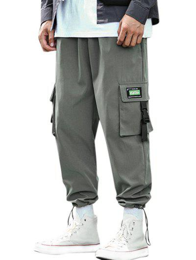 Buckle Strap Letter Applique Cargo Pants - Dark Gray M