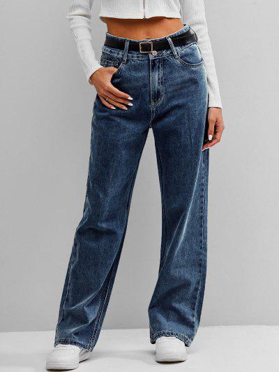 ZAFUL Jeans De Cintura Alta Larga - Azul Escuro L