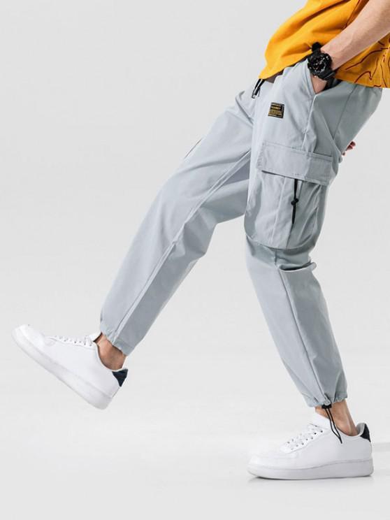 Jogger Pantalones de Cintura Elástica con Multi-bolsillo - Gris Claro S