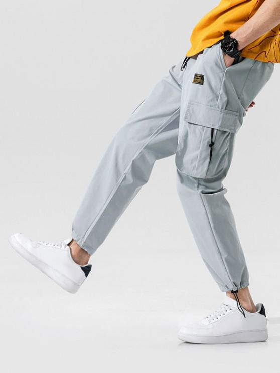 Jogger Pantalones de Cintura Elástica con Multi-bolsillo - Gris Claro L