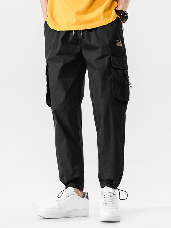 Jogger Pantalones de Cintura Elástica con Multi-bolsillo - Negro S