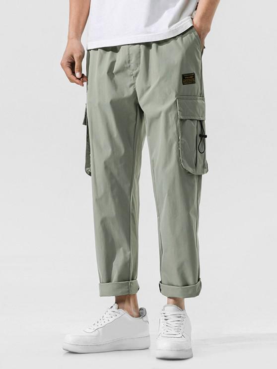 Jogger Pantalones de Cintura Elástica con Multi-bolsillo - Verde claro S