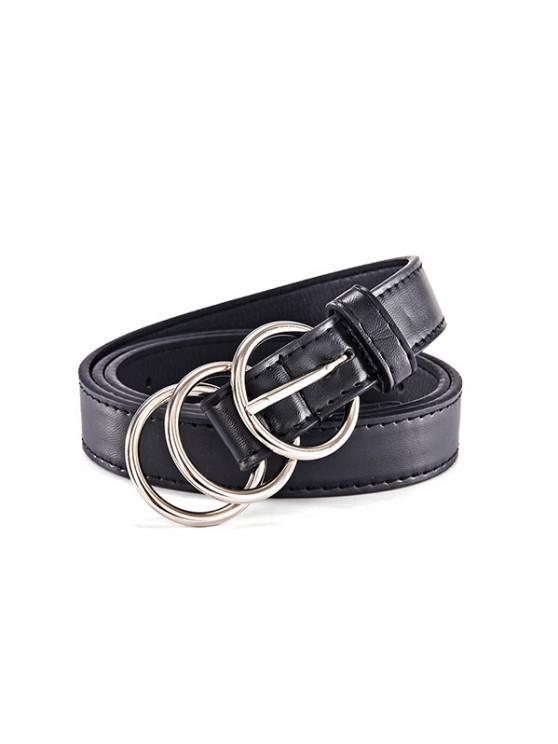 Cinturón Cuero PU Hebilla Redonda - Negro
