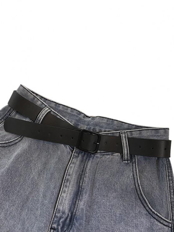 PU Square Buckle Belt Jeans - أسود
