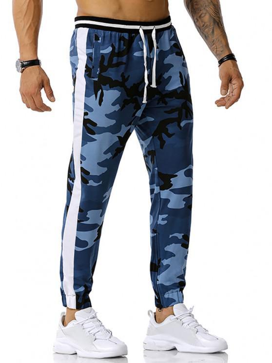 Camouflage Print Zipper Slit Sports Pants - جينز ازرق XXL