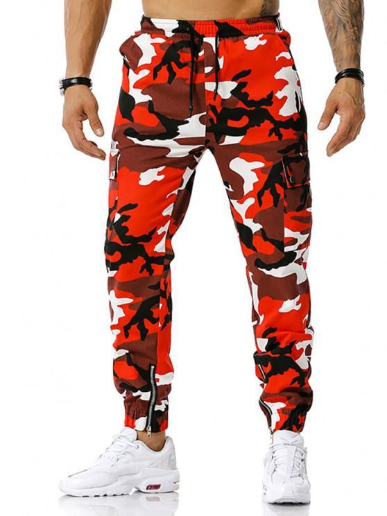 Camouflage Print Zipper Slit Cargo Pants - أحمر XXXL