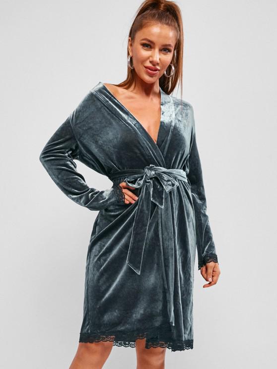 affordable ZAFUL Eyelash Lace Velvet Belted Robe - BLUE GRAY M