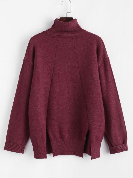 Camisola de Manga Comprida de Gola Alta e Ombro Caído Algemado - Vermelho escuro Um Tamanho