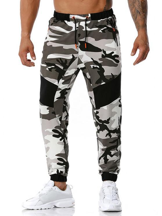 Camouflage Print Zipper Pockets Sports Pants - اللون الرمادي S