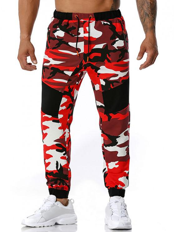 Camouflage Print Zipper Pockets Sports Pants - أحمر XL
