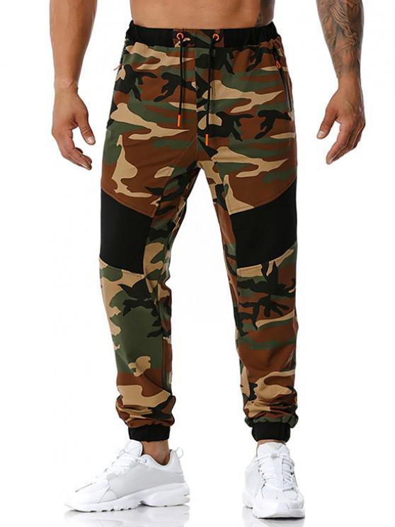 Camouflage Print Zipper Pockets Sports Pants - الجيش الأخضر XXL