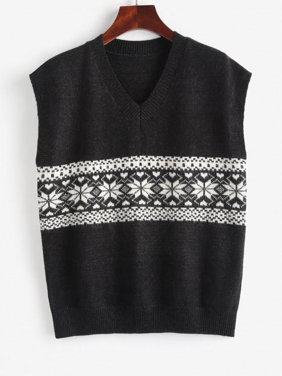 ladies Fair Isle Knit V Neck Sweater Vest - DARK GRAY ONE SIZE