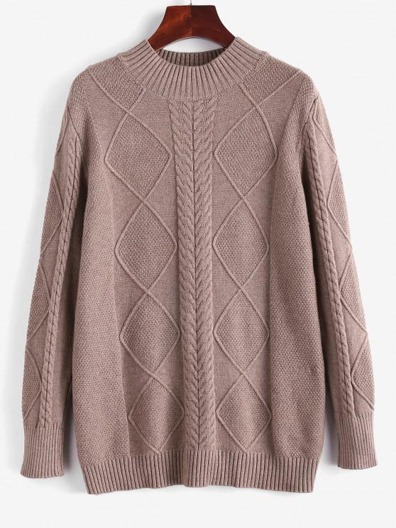 ladies Cable Knit Mock Neck Solid Jumper Sweater - COFFEE ONE SIZE