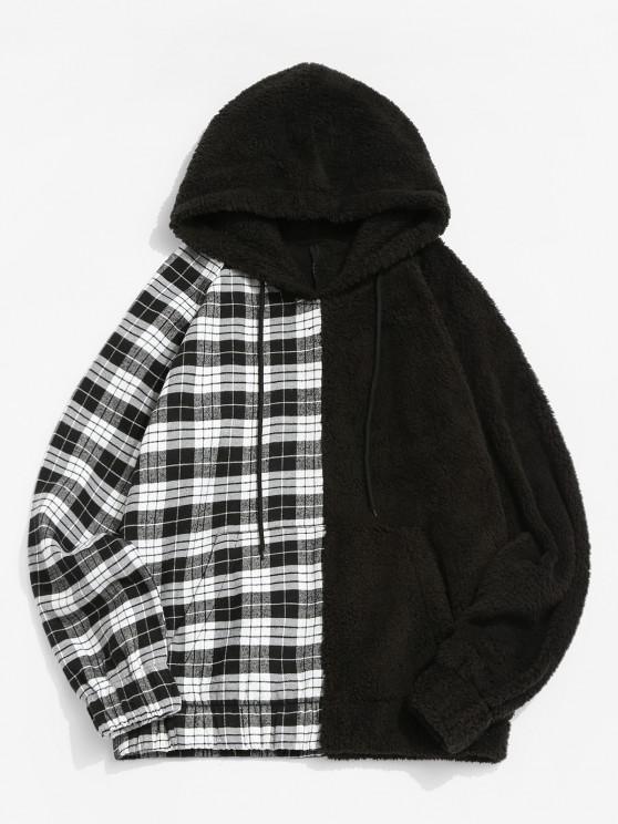Raglan Sleeve Contrast Plaid Fluffy Hoodie - أسود L