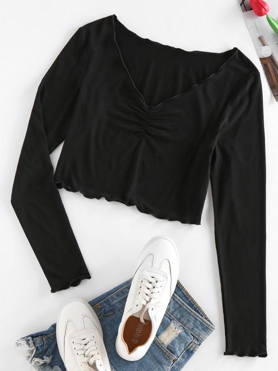 affordable ZAFUL Lettuce Trim Ruched Cropped T Shirt - BLACK XL