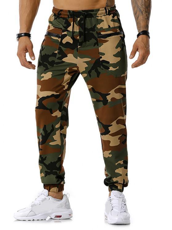 Calças para corrida com zíper e estampa de camuflagem - Exército verde XL