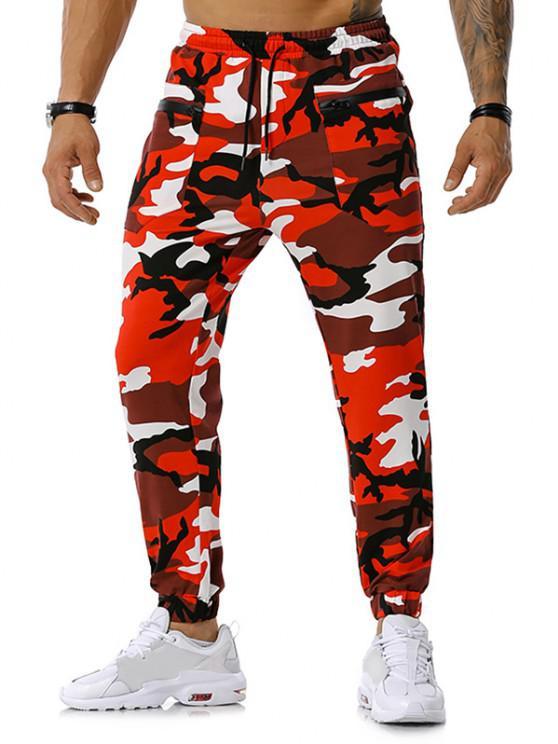 Calças para corrida com zíper e estampa de camuflagem - Vermelho XXXL