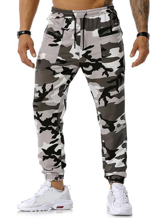 Zipper Pockets Camouflage Print Jogger Sports Pants - اللون الرمادي XXL