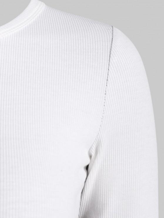 Rib-knit Two Tone Underbust Seam Detail Crop Top - Black M | ZAFUL