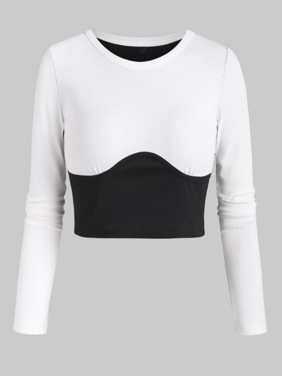 outfits Rib-knit Two Tone Underbust Seam Detail Crop Top - BLACK M