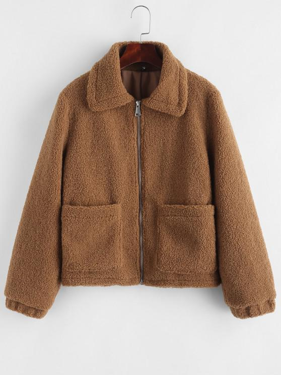 women's Zip Up Front Pockets Borg Teddy Jacket - COFFEE L