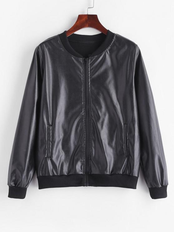 Fleece Lined Faux Leather Zip Jacket - أسود L