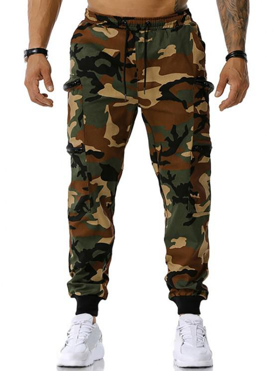 Camouflage Print Zipper Pockets Cargo Pants - الجيش الأخضر L