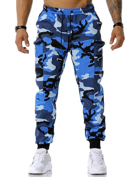 Camouflagedruck Reißverschluss Taschen Cargo Hose - Blau M