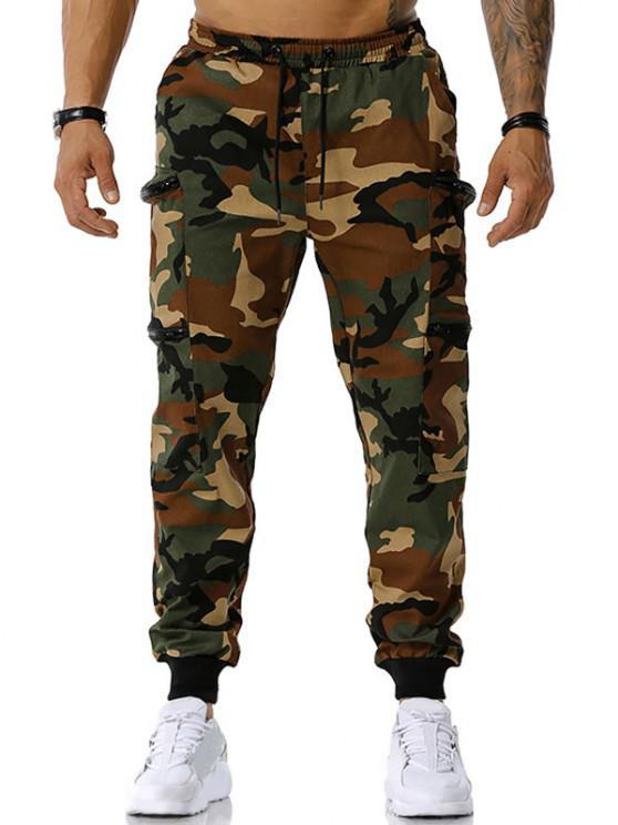 Camouflage Print Zipper Pockets Cargo Pants - الجيش الأخضر XL