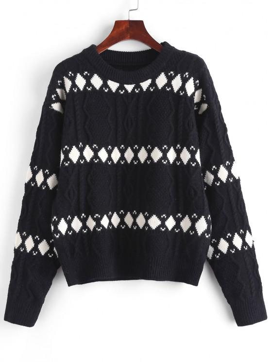 womens Argyle Graphic Cable Knitted Sweater - BLACK ONE SIZE