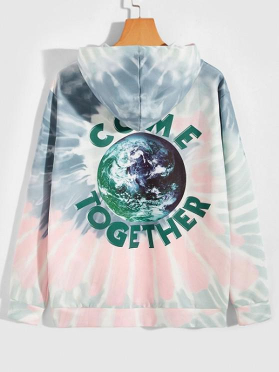 Earth Come Together Tie Dye Spiral Print Hoodie - متعددة-A XL