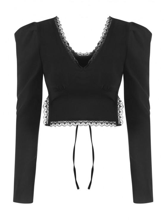 affordable Lace Trim Puff Sleeve Tie Back Crop Top - BLACK S