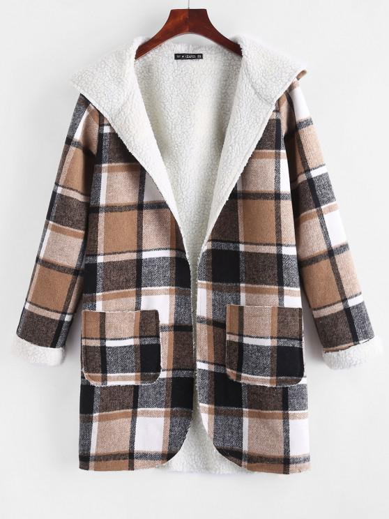 Open Front Pockets Plaid Faux Shearling Coat - قهوة M