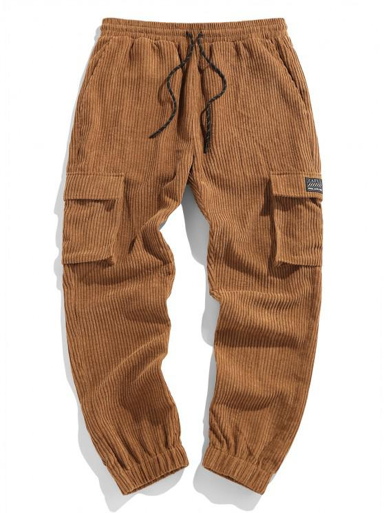 best ZAFUL Flap Pocket Patched Corduroy Pants - COFFEE L