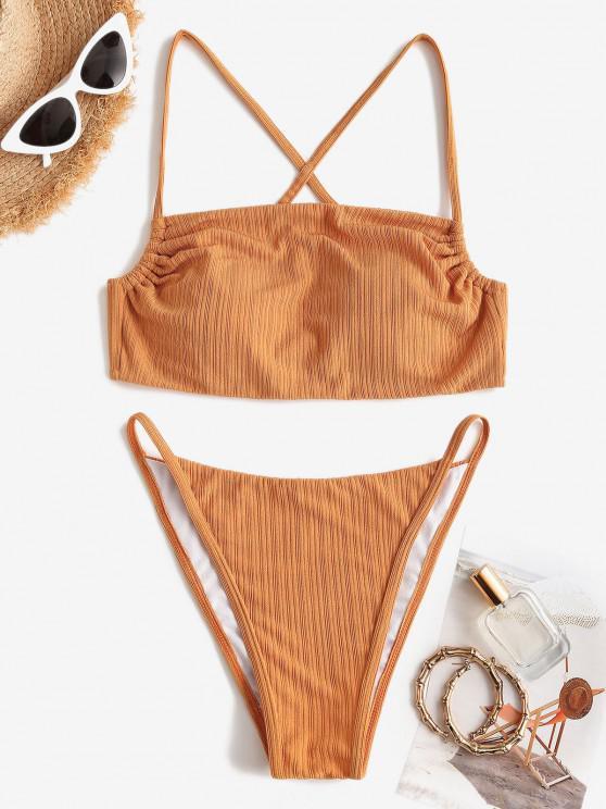 women's ZAFUL Textured Ribbed Crisscross Back Tanga Bikini Swimwear - DEEP YELLOW S