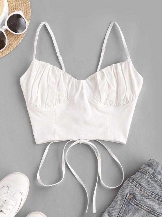 hot Ruched Lace-up Bustier Cami Top - WHITE M